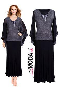 Dlhé čierno-strieborné dámske spoločenské šaty s efektnou ručne šitou aplikáciou, skladom vo veľkostiach i pre moletky.