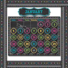 Chalkboard Brights Calendar Bulletin Board Set--perfect for calendar corner