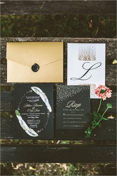 black gold and white invitation suite @weddingchicks