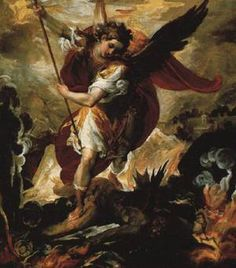 Saint Michael the Archangel,  defend us in battle.  Be our protection against the wickedness and snares of the devil.  May God rebuke him, we humbly pray;  and do Thou, O Prince of the Heavenly Host -  by the Divine Power of God -  cast into hell, satan and all the evil spirits,  who roam throughout the world seeking the ruin of souls.  Amen.