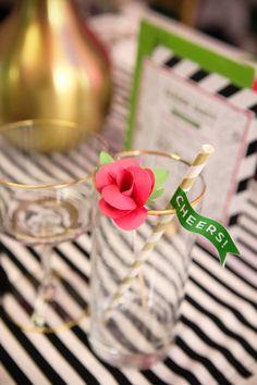 Paper Flower Drink Stir Stick -  Open House Party