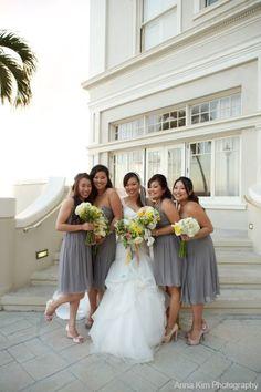 Bridesmaids in Donna Morgan Tara and Jackie dresses #weddings  #DonnaMorganEngaged