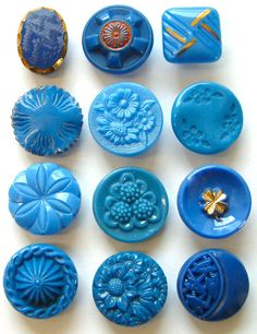 12 x 19mm Vintage Teal Blue Glass Buttons, Floral & Art Deco