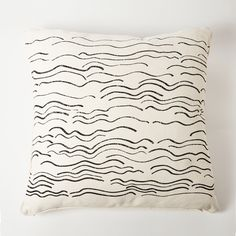 Handmade Eco-friendly Sustainable Square Waves Pillow