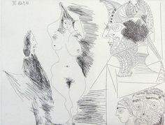Pablo Picasso Gentleman Viewing Nude with Egyptian Sculpture, from the Suite 347, 1968, 1968