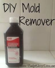 DIY Mold Remover First, choose one of these two mixtures: 1/2 cup hydrogen peroxide and 1 cup water or 1 tsp tea tree oil and 1 cup water Mix the two ingredients chosen in a spray bottle. Spray the mold/mildew and allow to sit for an hour. Rinse and wipe clean (you may need to scrub tougher mold).
