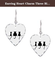 Earring Heart Charm Three Black Cats on a Wall. Product Number: 0001-1395790261 Show-off what you love most with fun heart-shaped earrings. These women's earrings are stylish & comfortable. You're sure to catch people's eye with our glamorous custom jewelry that's ideal for a special occasion or a trip to the mall. * Features a polished-scallop edge * Aluminum construction (decorative portion) * Hook made of surgical steel.