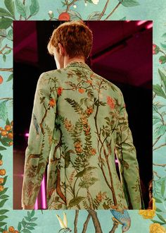 "Heaven's Garden: Hummingbirds and butterflies flitting between bright blooms, spring's print ""Tian"" is the Chinese term for heaven. The ornamental snapshot of nature colors soft ready-to-wear and structured accessories in Gucci's new collection."