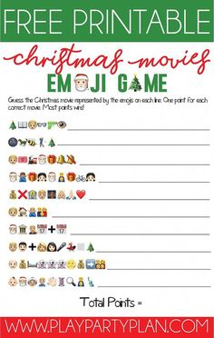 Free Printable Christmas Emoji Game - - Think you know your Christmas movies? Test your movie knowledge with this fun printable Christmas emoji game! A fun Christmas game for all ages! Funny Christmas Games, Emoji Christmas, Christmas Games For Family, Xmas Games, Printable Christmas Games, Holiday Games, Christmas Humor, Christmas Holidays, Christmas Office Games