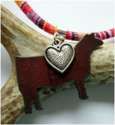 Stock Show Steer Necklace with an antique silver heart shows just how much your show cattle mean to you!