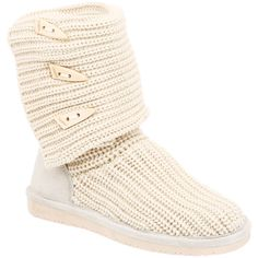 Cream Knit Bear Paw Boots