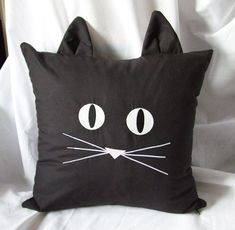 Black Cat Face Pillow Cover with Glow In Dark Thread | ForgetMeKnotTreasure - Housewares on ArtFire