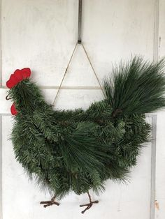 Rooster Chicken Wreath More to see in the shop. Farmhouse Christmas Decor, Outdoor Christmas Decorations, Country Christmas, Christmas Time, Christmas Wreaths, Christmas Ornaments, Xmas, Burlap Door Decorations, Gnome Ornaments