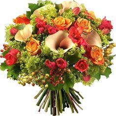 Bouquet de fleurs Aquarelle.com Voici un ravissant bouquet aux couleurs chaudes pour l'été !