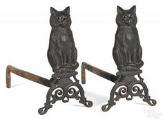 Pair of Peck, Stow, and Wilcox, Southington, Connecticut cast iron cat andirons, late 19th c., 17 3/4'' h. The Dianne Goldman Collection of Americana and