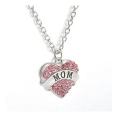 * Penny Deals * - Gift for the Loved Fashion New Best Friend Family Gift Jewelry Crystal Heart Pendant Necklace Chain 1pcs Pink MOM *** Learn more by visiting the image link.