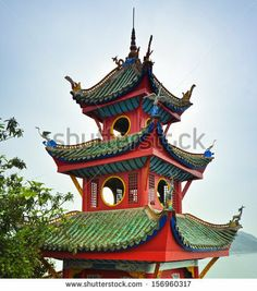 This color combination slays me. Top of the Shibaozhai Pagoda - Shibao, Chongqing, China by jejim, via Shutterstock