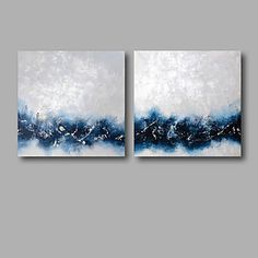 Ready to Hang Hand-Painted Oil Painting on Canvas Wall Art Abstract Contempory Blue White Abstract Two Panels 2016 - $76.99