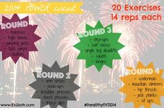 Start 2014 off the FIT way with a 2014-themed full body POWER circuit workout. 20 Exercises, 14 Reps to a #healthyfit2014! *Easily customized for any level*