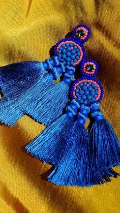 Peacock Earrings by Coralie Reiter Jewelry // #statementjewelry #fallfashion #fallstyle #earrings