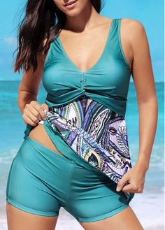 Padded Open Back Printed Swimdress and Shorts on sale only US$30.06 now, buy cheap Padded Open Back Printed Swimdress and Shorts at liligal.com