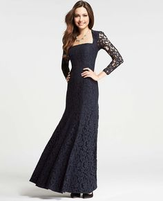 Petite Long Sleeve Lace Gown