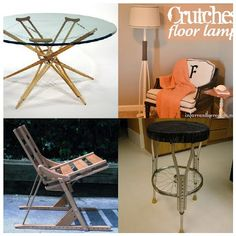 Such a great idea for those old crutches. Love the glass table!