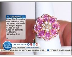 14.40 ctw Pink Tourmaline Multi-shape & 0.50 ctw Diamond 18K Yellow Gold Ring, Size 8 (14.20 gram weight)