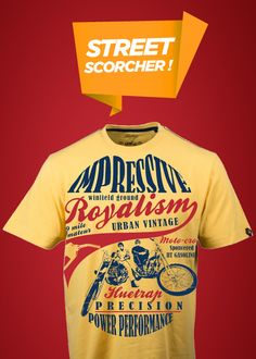 Biker dude wear! www.huetrap.com/men/t-shirts/graphic/00021?Color=Yellow #graphictees, #tshirts, #bikes, #onlineshopping