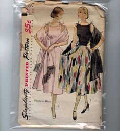 Vintage Sewing Pattern Simplicity 3557 One Piece Full Skirt Party Dress Stole Pattern Size 12 Bust 30 Modern Sewing Patterns, Mccalls Patterns, Simplicity Sewing Patterns, Vintage Patterns, Vintage Dresses 50s, Vintage Outfits, Vintage Fashion, Moda Vintage, Retro Vintage