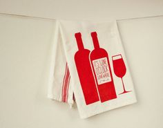 Wine Enthusiast - Screenprinted Kitchen Tea Towel. $12.00, via Etsy.