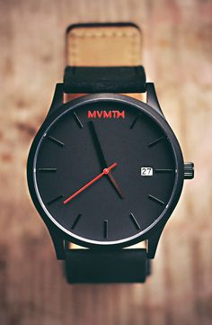 Black/Black Leather Watch x MVMT Watches  Click image to purchase
