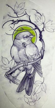 Эскиз татуировки с птичкой на ветке