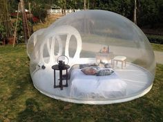 Transparent Bubble Tent Lets You Sleep Underneath The Stars.This cool Transparent Bubble Tent let's you sleep in a Million Star Hotel…Sort of… It's made with PVC and PVC tarpaulin material, making it water-proof and fire-retardant. This tent (4m Diameter) has enough space to host 2 people and is inflatable so it's easy to set up and take down. Read more: http://www.wherecoolthingshappen.com/transparent-bubble-tent-lets-you-sleep-underneath-the-stars/#ixzz40PsGIJoz