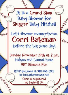 baseball baby shower invitations for boys baseball grand slam shower invitation