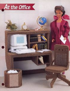 At The Office Desk Chair Computer Barbie Doll Plastic Canvas Pattern RARE | eBay