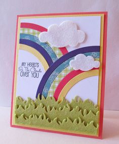 My Head is in the Clouds...card. Love the patterned rainbow paper and felt