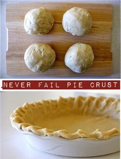 Never Fail Pie Crust Recipe ~ It doesn't require any cold ingredients and it doesn't require you to chill the dough for an hour before rolling it out