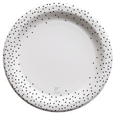 "Cheeky 10"" Paper Plates - designlovefest for Cheeky, Black Polka Dot Edge (30 ct)"