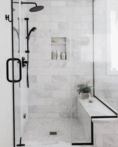 Black Bathroom Design Inspiration - Boxwood Ave - - Take a peek at the design plan for our latest bathroom remodel: a black bathroom with wood vanity and gorgeous subway tile with splashes of marble! Bathroom Design Inspiration, Bad Inspiration, Bathroom Interior Design, Design Ideas, Shower Inspiration, Interior Ideas, Best Bathroom Tiles, Bathroom Black, Master Shower Tile