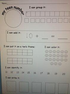 Teen number worksheet