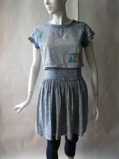 1980's denim layered dress  acid wash  with by afterglowvintage, $34.00