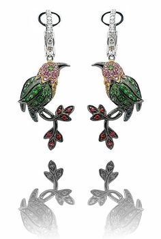 Dangling Multi Sapphire Bird Earrings in 18k Two Tone Gold only $2,495.00 - Animal and Insect Jewelry