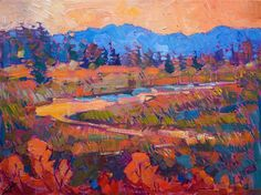 Cascades, Oregon landscape oil painting by modern impressionist Erin Hanson