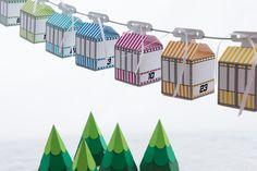 Adventskalender - DIY Seilbahn, Gondel Adventskalender - gestreift - ein Designerstück von creatyve-design bei DaWanda