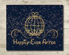 Mariage Disney / / Cendrillon mariage / / Cendrillon douche nuptiale / / Happily Ever After / / imprimable / / 8 x 10 / / Disney Art Print / / conte de fées