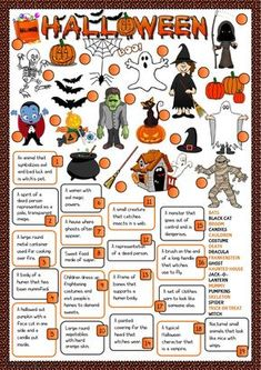 Halloween - definitions Language: English Grade/level: elementary School subject: English as a Second Language (ESL) Main content: Halloween Other contents: Halloween Vocabulary, Halloween Worksheets, Halloween Activities For Kids, Halloween Games, Holiday Activities, Holidays Halloween, Halloween Diy, Halloween Quizzes, Healthy Halloween