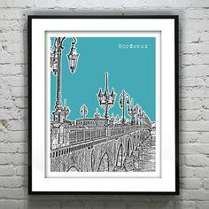 Bordeaux France Skyline Poster Print by AnInspiredImage on Etsy, $18.95
