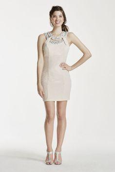 Short Halter Dress with Crystal Beaded Neckline