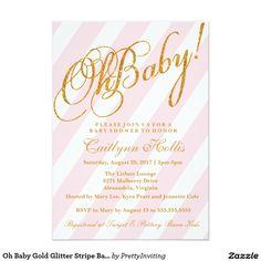 Oh Baby Gold Glitter Stripe Baby Shower Invitation